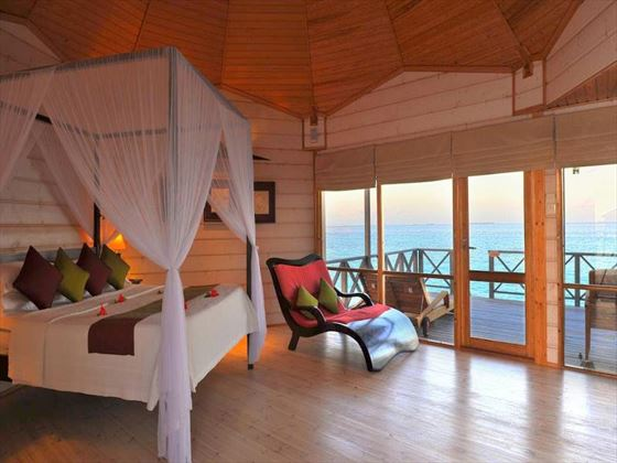 Interior view of a Jacuzzi Beach Villa at Komandoo Island Resort