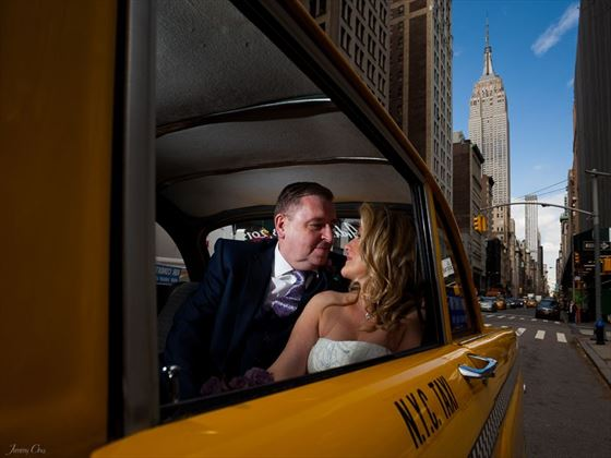 Bride & Groom in the NYC Checker taxicab