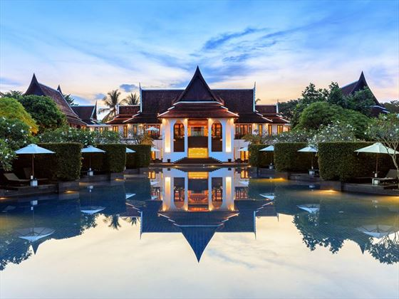 The center pool at JW Marriott Khao Lak