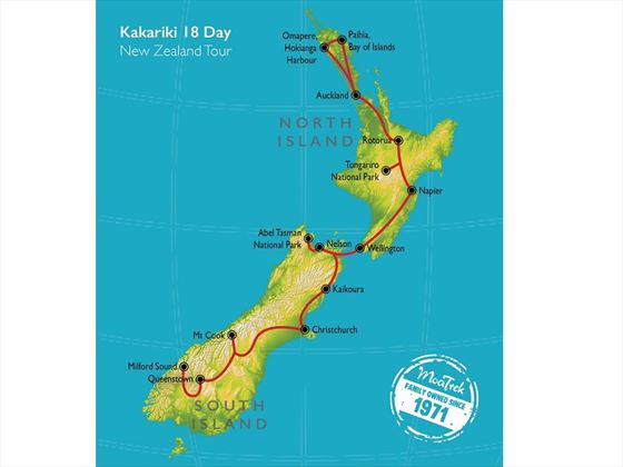 North to South Kakariki map