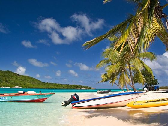Kayaks on the beach in Tobago