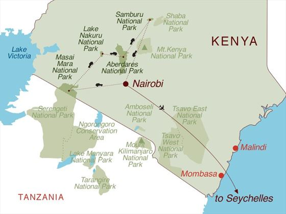 Kenya Safari & Seychelles Map