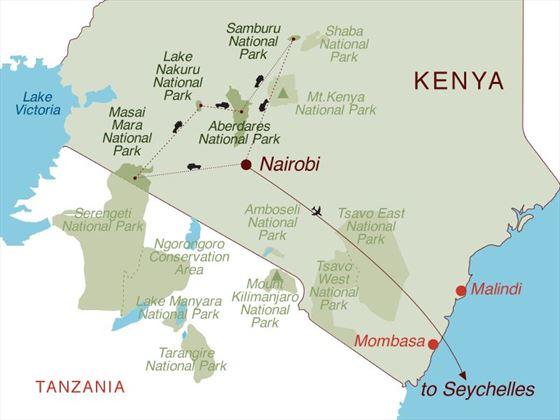 Kenya Safari & Seychelles Map