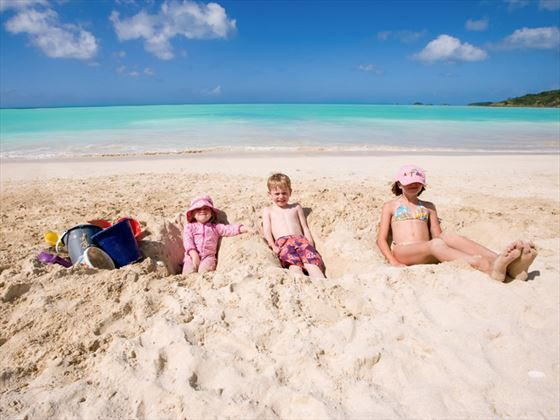 Kids on the beach at Jolly Beach Resort & Spa