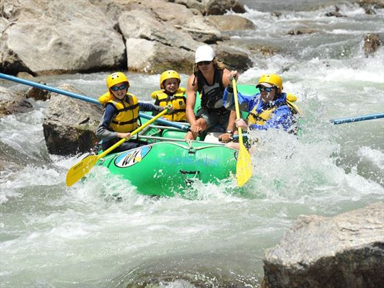 Kids white-water rafting