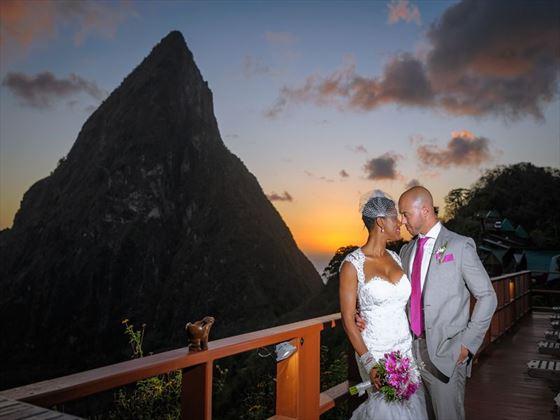 Beautiful & stunning sunset over St Lucia