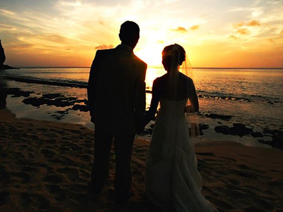 Romantic wedding sunset