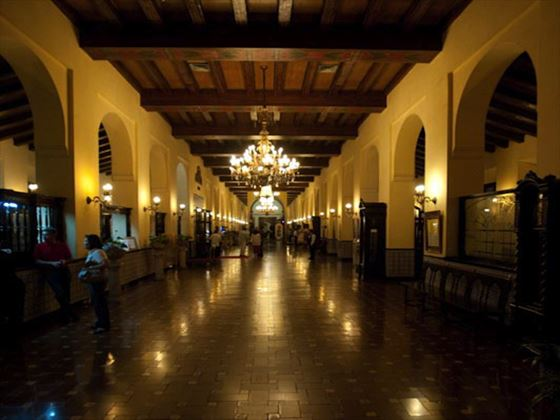 Lobby area of the Nacional at night