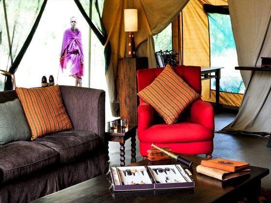 Lounge area at Nairobi Tented Camp