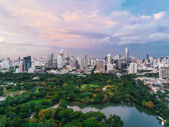 Lumpini Park and Bangkok skyline