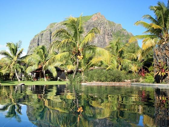 Lush gardens surround the pools at LUX* Le Morne