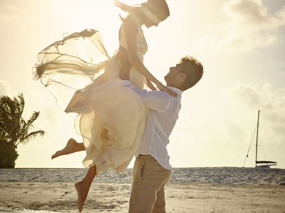 Having fun on your wedding day at LUX* South Ari Atoll