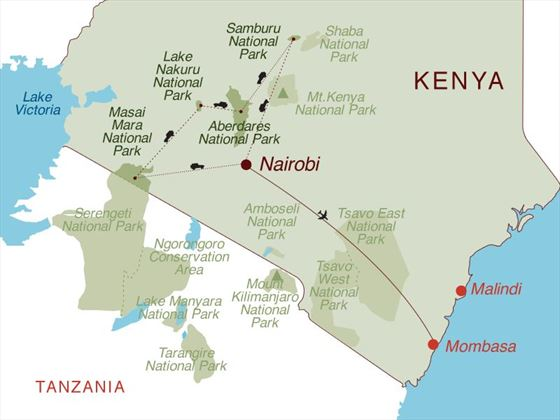 Magical Kenya & Mombasa Beach Map