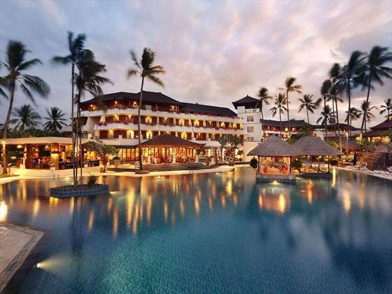 Main pool in the evening at Nusa Dua Beach Hotel