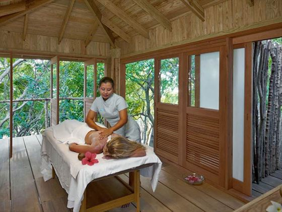 Massage treatment at the Hillside Spa at Petit St Vincent