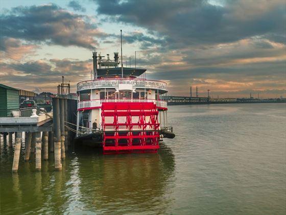 Mississippi steamer at sunrise