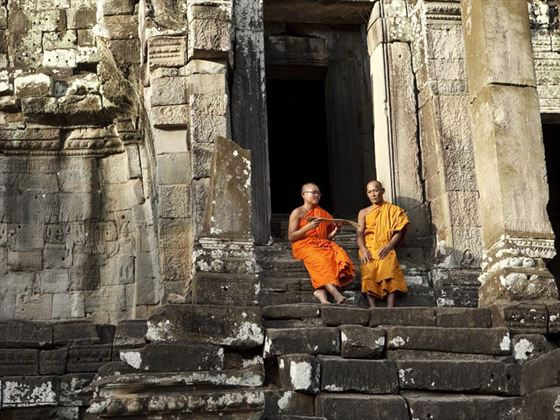Monks studying together in Siem Reap