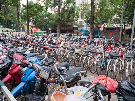 Motorcycles and bicycles in Ho Chi Minh City