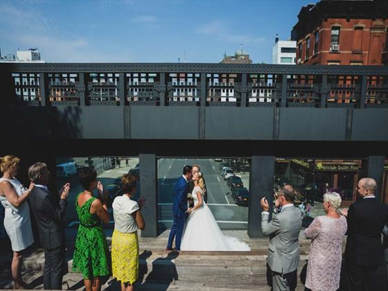 Bride, Groom & guests at the High Line