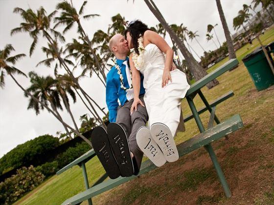Bride & Groom, Oahu wedding