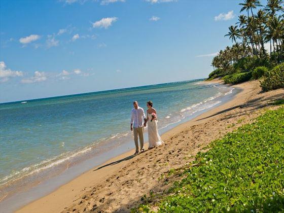 Beautiful beach setting for a wedding