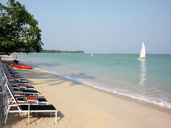 Ocean-facing sun loungers at Kantary Beach