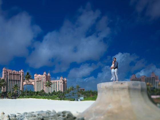 Bride & Groom on the Ocean Steps, Atlantis The Cove