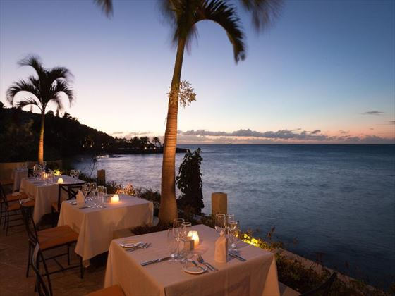 Ocean views from The Cove restaurant at Blue Waters Hotel
