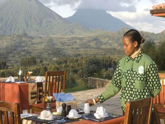 Outdoor dining at Sabyinyo Silverback Lodge