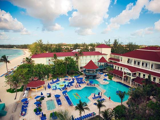 Overview of the pools at Breezes Bahamas