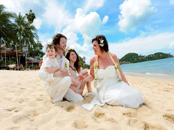 Beach setting for your wedding at the Peace Resort Samui