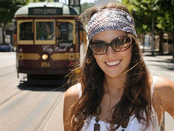 Pictured by the City Circle Tram in Melbourne