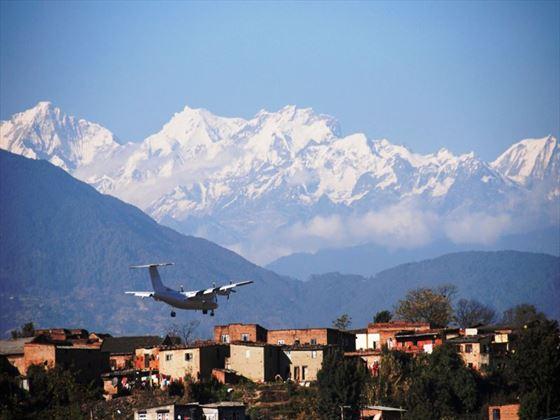 Plane landing in Kathmandu