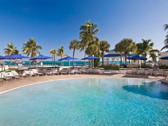Poolside loungers at Melia Nassau Beach