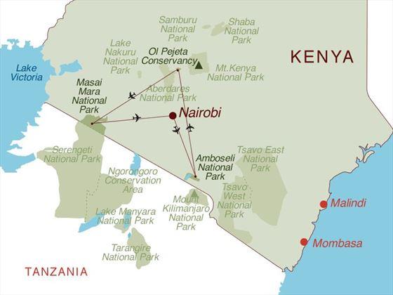 Porini Wilderness Experience Flying Safari Map