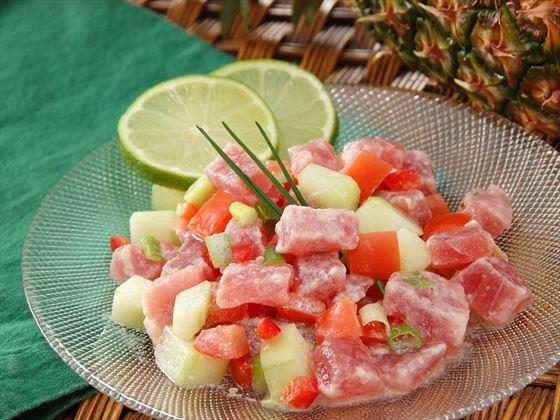Poussin Cru, a delicacy in Tahiti