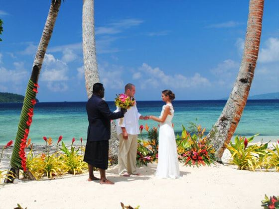 Beach wedding setting at Qamea Resort & Spa