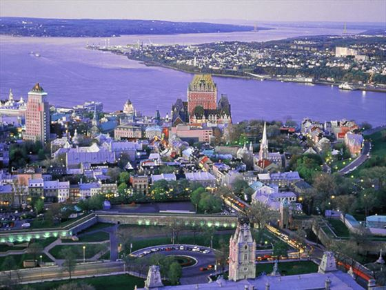 Aerial view of Quebec City in summer