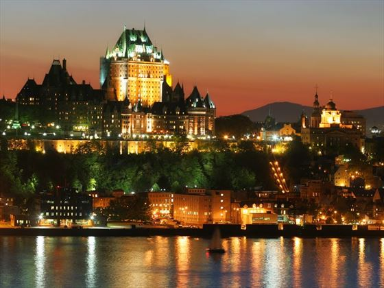 Quebec City's Frontenac Castle at night