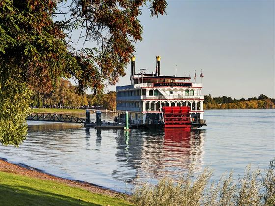 Queen of the West paddle boat moored on the Columbia River, Washington