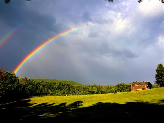Rainbow over Stockbridge countryside, Massachusetts