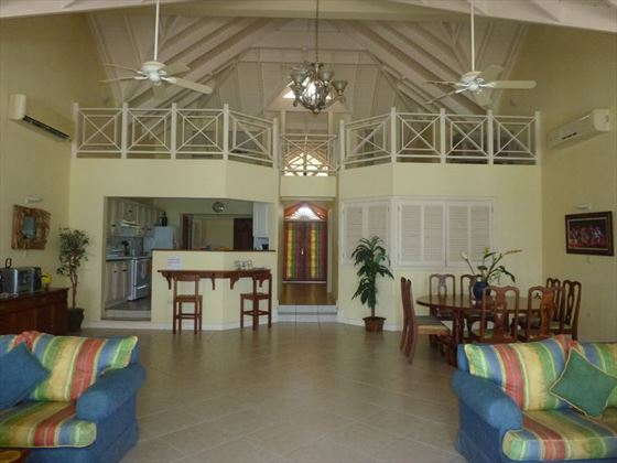 The living and dining area leading to the kitchen