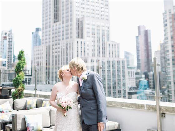 Bride & Groom at the Skyline Rooftop Wedding