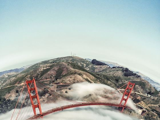 San Francisco's Golden Gate Bridge viewed from above