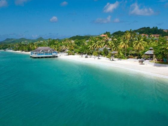 Sandals Halcyon Beach St Lucia beach view