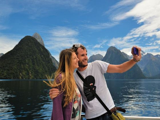Cruising across the iconic Milford Sound