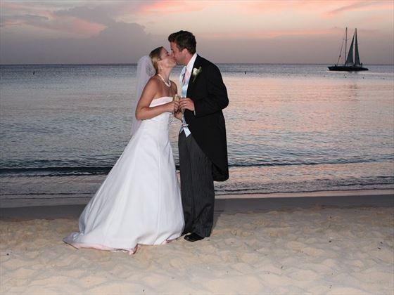 Bride & Groom and their beach wedding