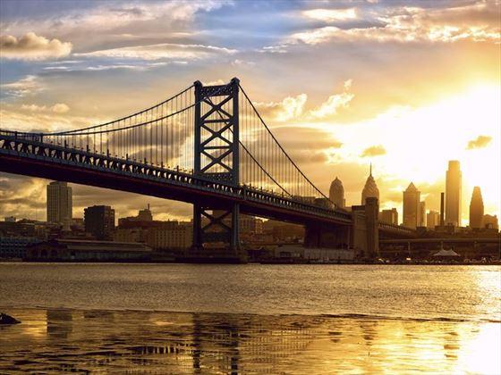 Sunset over Benjamin Franklin Bridge