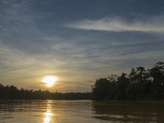Sunset at Sukau Rainforest Lodge