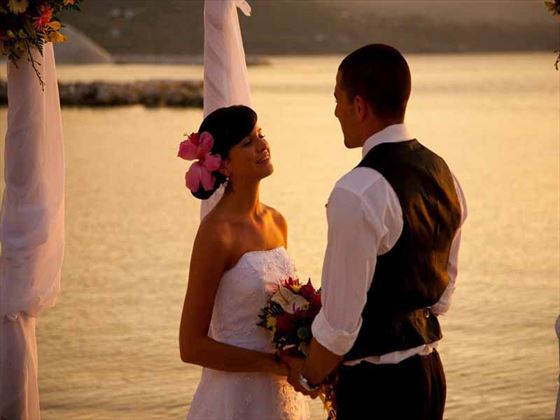 Wedding vows at Sunset Bay
